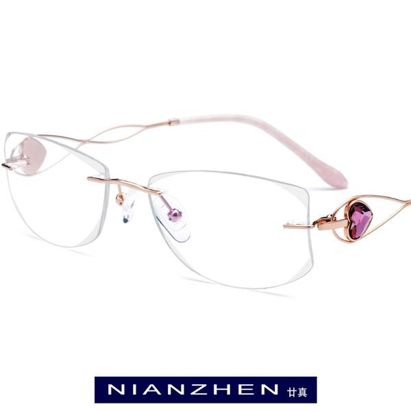 B Wire Titanium Eyeglasses Frame Women Luxury Diamond Trimming Cut Frameless Rimless Optical Glasses Frames Women Eyewear 7711