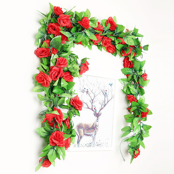 240cm Silk Roses Ivy Vine with Green Leaves For Home Wedding Decoration Fake leaf diy Hanging Garland Artificial Flowers