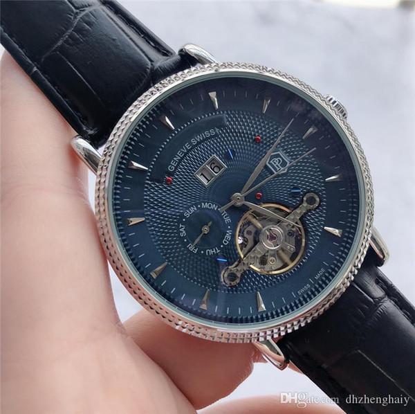 Горячие продажи кожа автоматические часы черный Relogio циферблат резные гравированные часы новые роскошные часы автоматический маховик полый циферблат Feminino Montre