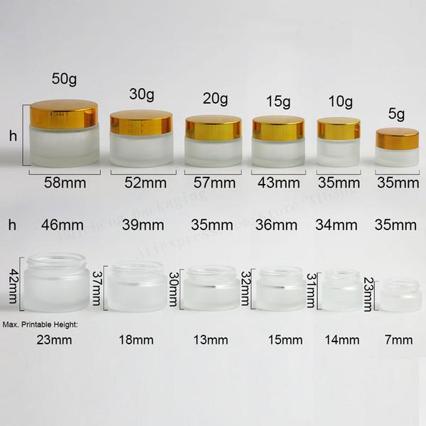 200 pzas X 50g 30g 20g 15g 10g 5g Frost Glass Cream Jar con tapas de oro y plata negro 1 oz Envase de vidrio 1 / 3oz Empaquetado de cosméticos