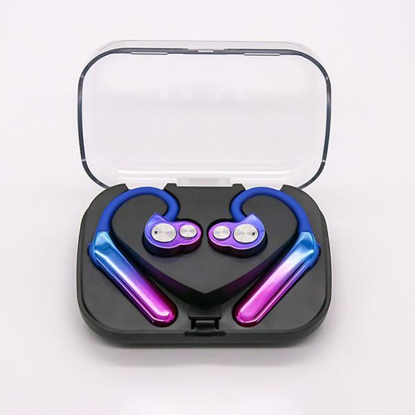 새로운 X6 오로라 컬러 무선 Bluetooth5.0 헤드폰 TWS 스테레오 스포츠 IPX7 방수 듀얼 이동 코일 Smart One Tow Two Earphoes