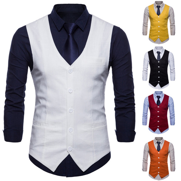 Erkekler Slim Fit Erkek Takım Elbise Yelek Erkek Yelek Gilet Homme Casual Kolsuz Biçimsel İş Jacket İçin 2018 Yeni Geliş Elbise Yelek