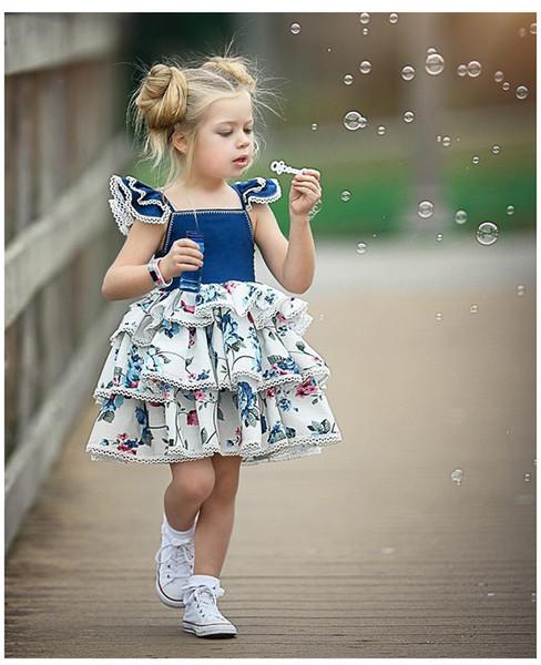 Kızlar Baskı Elbise Patlayıcı Bebek Yelek Elbise Outing Oyna Küçük Uçan Kollu Dantel Kek Etek Ücretsiz Nakliye
