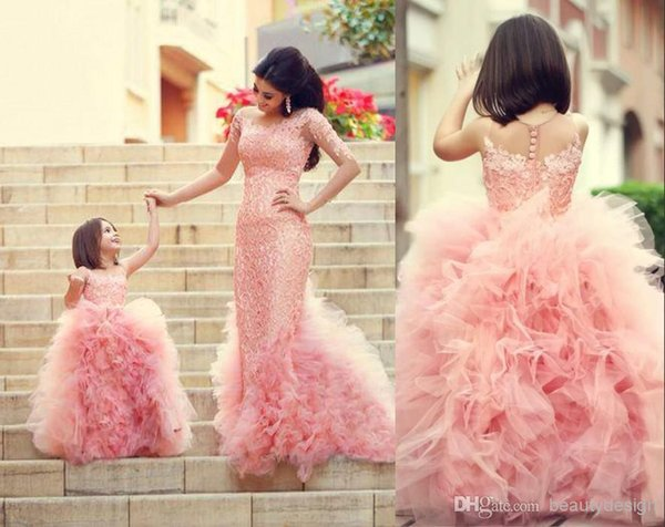 cheap gorgeous custom made cute pink flower girls' dresses for weddings tulle ruffles layered lace girls party princess pageant gowns BO5245