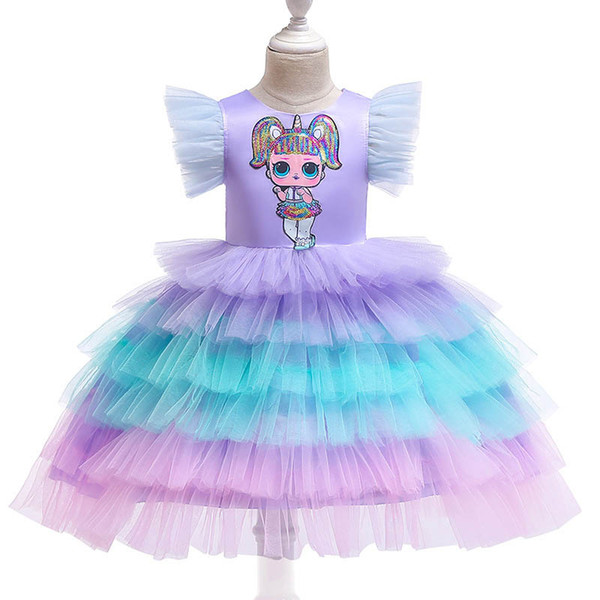 Rainbow flower girl dresses for wedding cute tutu kids dresses birthday party girls dresses kids designer clothes girls princess dress A6370