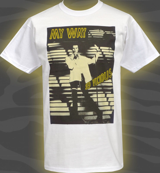 T-SHIRT HOMME BLANC SID ORIGINAL BRTISH LONDRES VICIOUS PUNK ROCK MY WAY S-5XL Drôle T-shirt 100% coton.