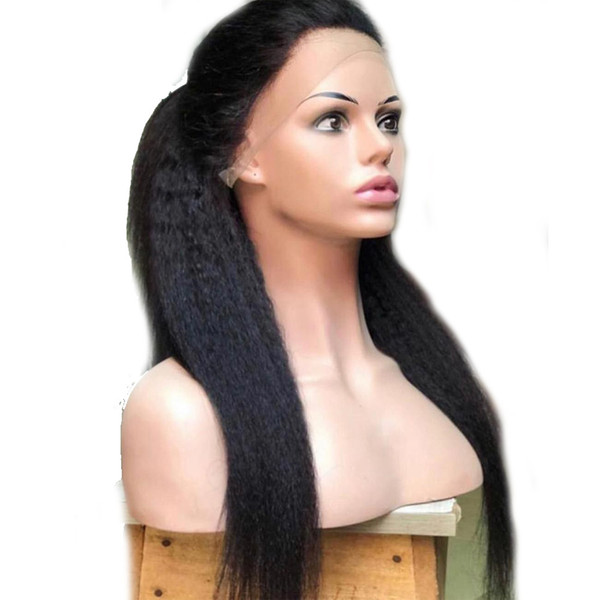 Cheap Natural Soft 26inch Black Long Kinky Straight Hair Glueless Synthetic Lace Front Wigs Baby Hair Heat Resistant Full Wigs For Women