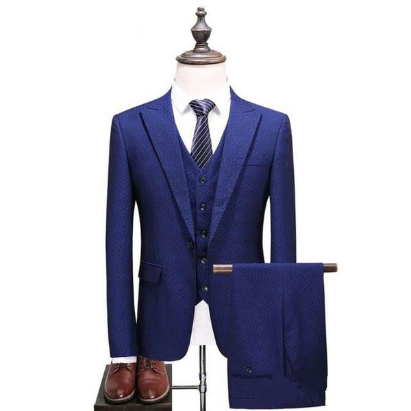 (Jacket+Vest+Pants) 2019 Mens Sapphire blue Suit Slim Fit Suit Men Luxury men's Wedding Suits Formal Wear dress dsy101