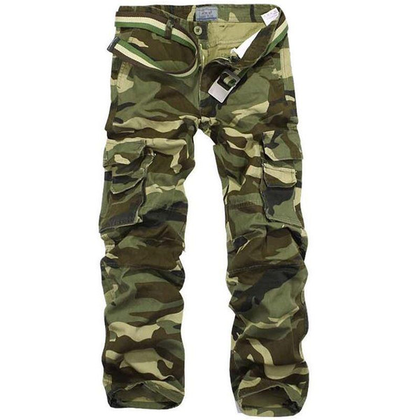 Camouflage Pants Men Multi Pocket Cotton Military Cargo Camo Pants Pantalon Homme Mens Streetwear Overalls Army Track Trousers