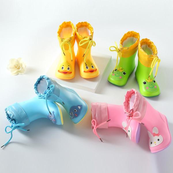 Automne Hiver Enfants Bottes De Pluie Chaud En Peluche Imperméable Enfants Pluie Chaussures De Garçon Filles Bébé Bottes En Caoutchouc Doux Pvc Neige Bottes Csh789 Y19062001