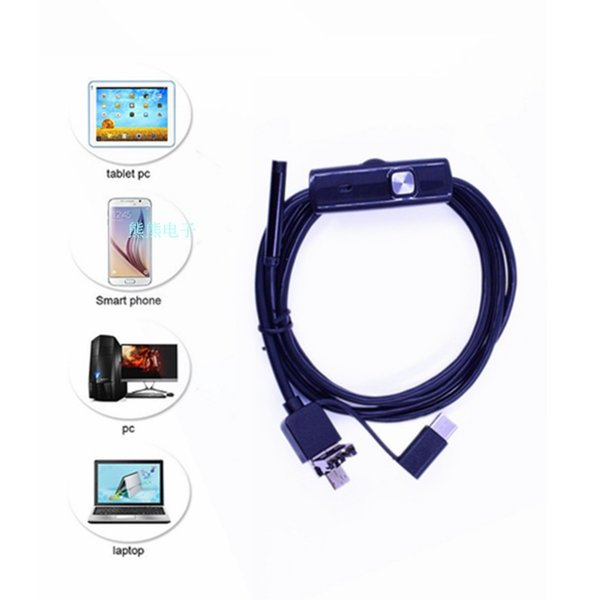ALK 1pc 7mm Micro USB Type-c Android 3 in 1 Computer Endoscope Borescope Waterproof Micro USB Camera Inspection Tube
