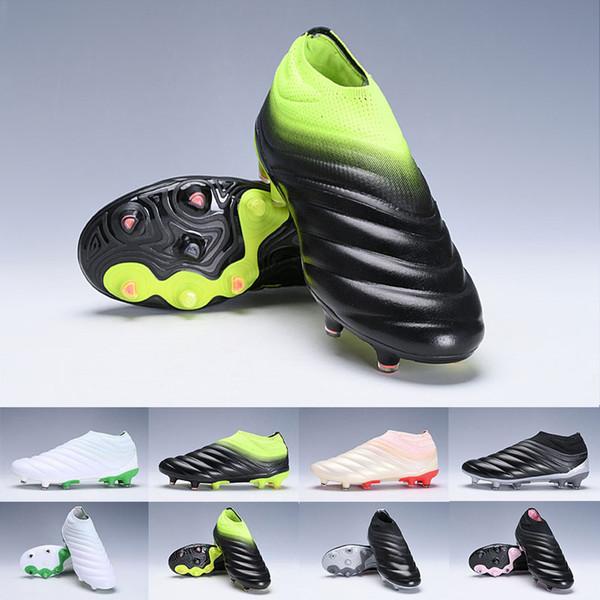 2019 Erkek Copa 19 + 19.1 FG AG 19 Sıcak Slip-On Şampanya Güneş Kırmızı Futbol Futbol Ayakkabı Botlar Scarpe Calcio Cleats Boyutu 39-45