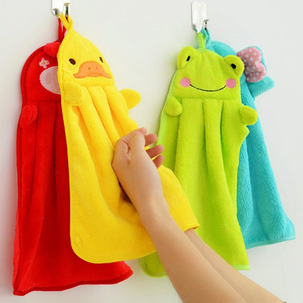 best selling Cartoon Animal hand Nice Decoration for bathroom Wish towel Washcloths super soft coral fleece kids towel wipe sweat hung towel