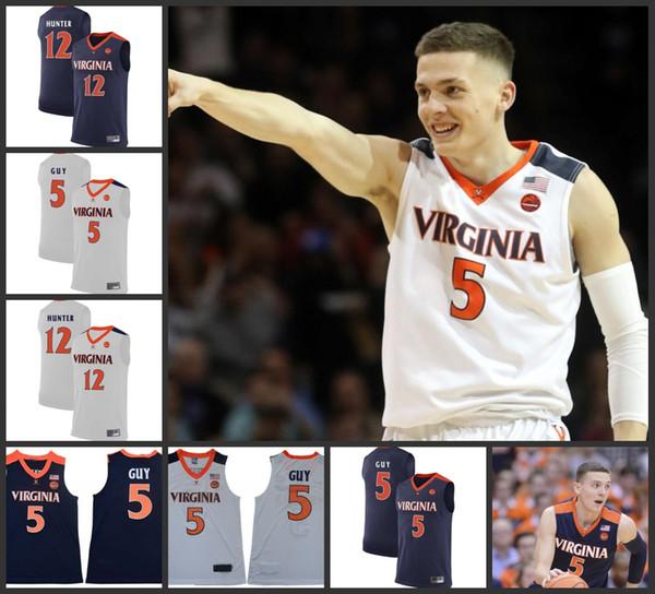 NCAA Virginia Cavaliersses UVA Basketball Kyle Guy Jersey # 5 Final Four 12 De'Andre Hunter Jersey costurado 2019 Campeões