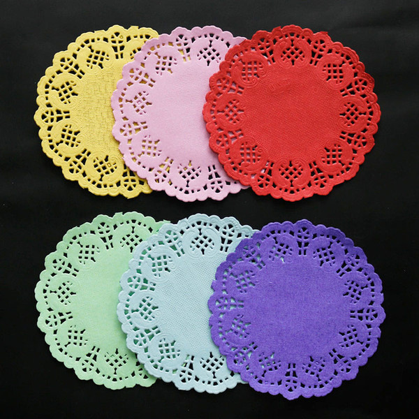 "1000pcs 3.5"" Colorful Round Lace Paper Doilies Cake Paper Mat Vintage Coaster Placemat Wedding Birthday Party Table Decoration"