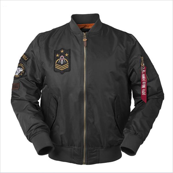 Atacado outono novo dos homens gola de manga comprida de cor sólida divisão aerotransportada militar air force badge solto jaqueta bomber masculino designe