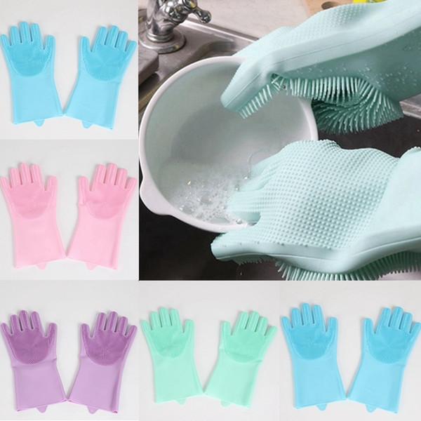 Gants en silicone avec pinceau sécurité réutilisable gant de lavage en silicone gants résistant à la chaleur outil de nettoyage de cuisine HHAA614