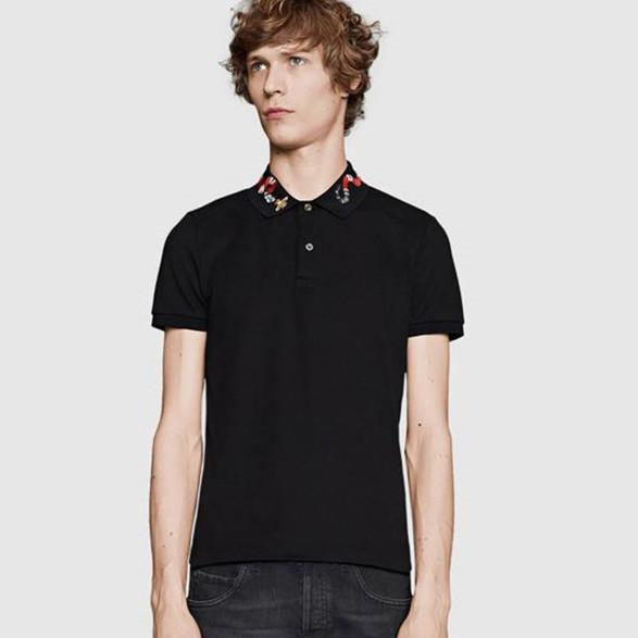 19ss brands Solid Cotton polo with Kingsnake embroidery men polo shirt embroidered bee collar polos mens t shirts clothing shorts Poloshirt