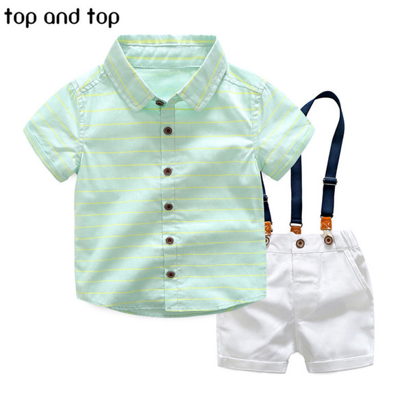 Top And Top Boys Clothing Sets 2017 Summer Boys Gentleman Striped Shirts+braces Shorts 2pcs Clothes Set Children Party Clothing J190513