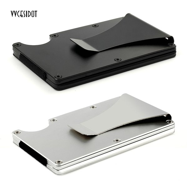 Metal Mini Money Clip RFID Anti-magnetic Card Holder Clip Car Parking Card Storage Bag Credit ID Holder Anti-thief Wallet