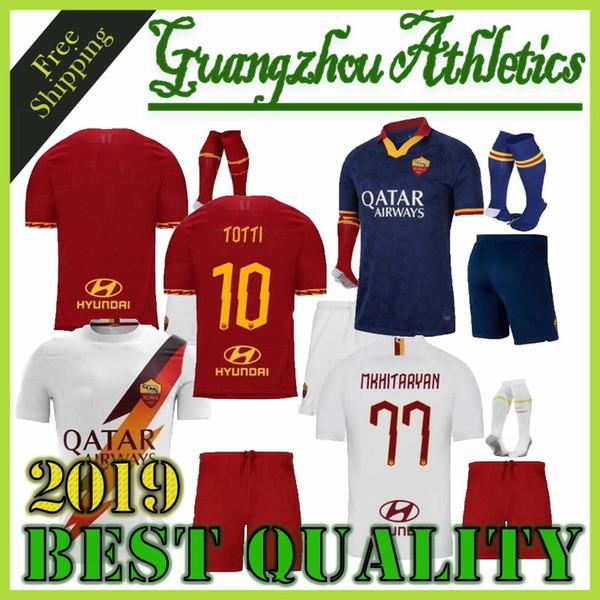 top popular RomA adult kit soccer Jersey 19 20 Home away third White Blue 9 DZEKO 11 KOLAROV 20 FAZIO 8 PEROTTI boy set 2019 2020 Football shirt 2019