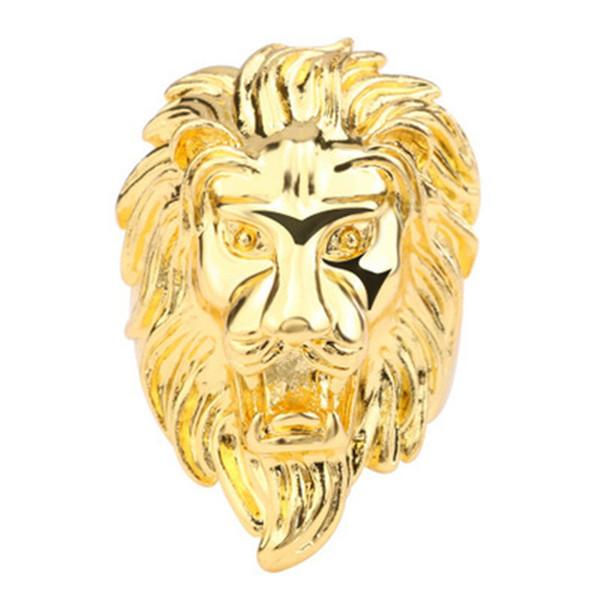 European and American fashion rock hip hop jewelry gold domineering lion head titanium steel stainless steel punk men's ring