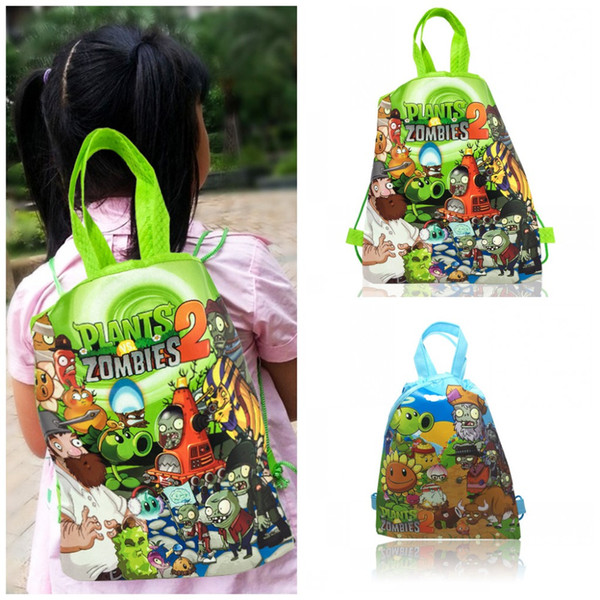 1PC Plants vs. Zombies Children Drawstring Backpacks Bags 34*27CM Non Woven Fabrics Kids Xmas Party Gift Home Storage