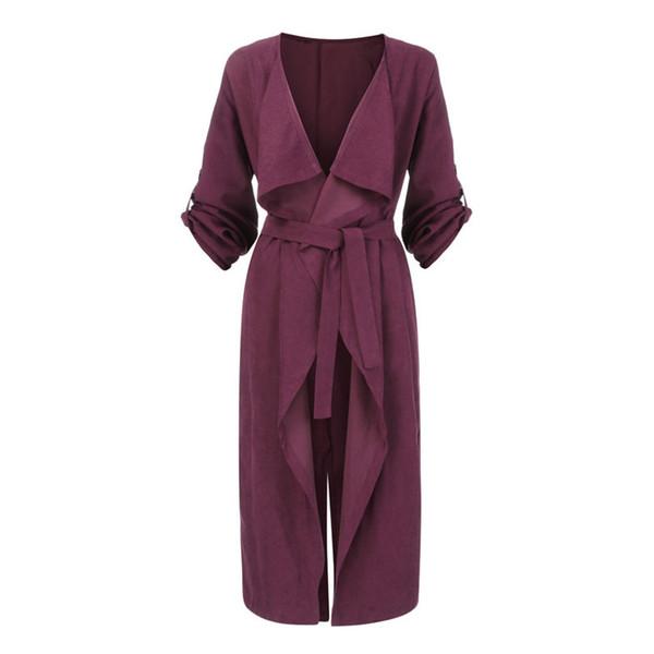 Women's fashionable Long Sleeve Ladies Women Solid Drape Front Open Lrregular Frenulum Windbreak Thin Tops Overcoat #4F12