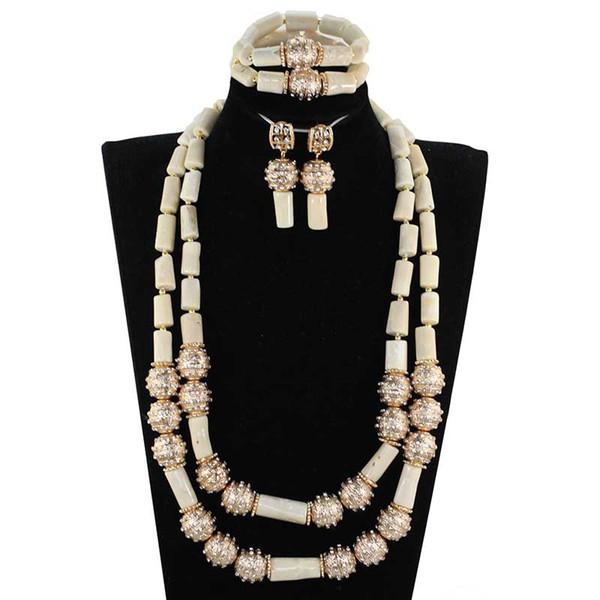 Blanc Africain Coral Perles De Mariée Ensemble De Bijoux 26 pouces Longue Corail Femmes Collier Ensemble Anniversaire Partie Perles Bijoux Ensemble NCL712