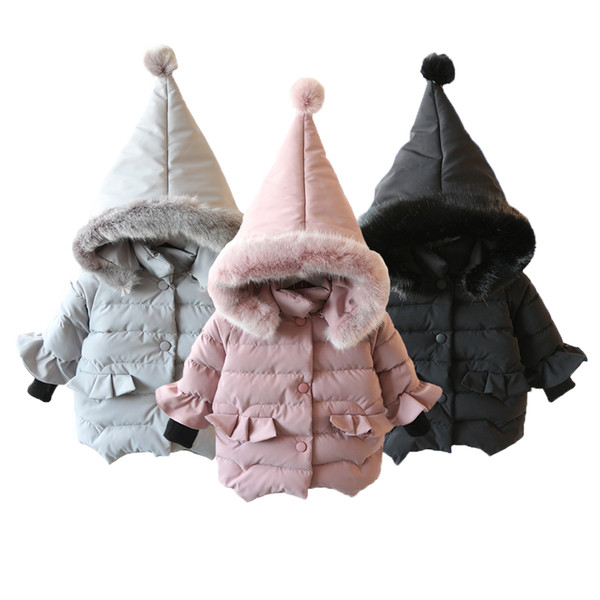 Thickening Warm Girls Jacket Cotton Lovely Thick Hooded Coat For Baby Girls Winter Little Girl Outerwear Kids Christmas Gifts Clothes