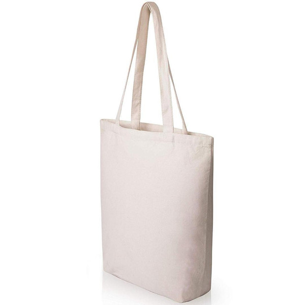 Charm2019 BEAU-Heavy Duty Strong Large Natural Canvas Tote Bags With Bottom Gusset For Crafts,Shopping,Groceries,Books,Welcome Bag,D