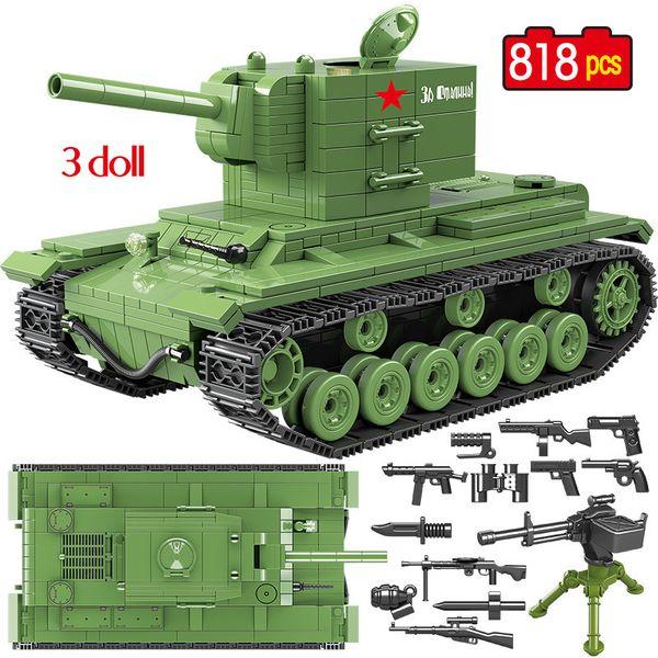 818 Pcs Military Soviet Russia Kv 2 Tank Building Blocks Compatible City Ww2 Soldier Police Weapon Bricks Sets Toys For Boys MX190730