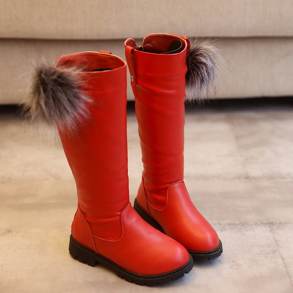 Moda Navidad Niños Botas Altas Princesa Niñas PU Invierno Botas de Nieve Cálidas antideslizantes Niños Zapatos Size26-35