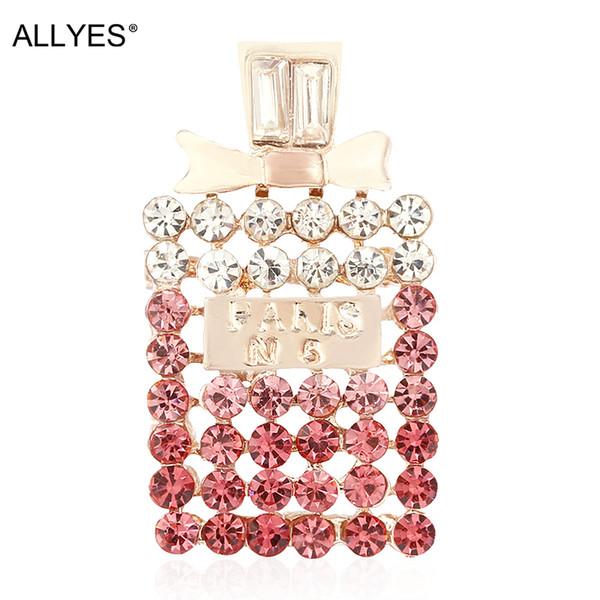 ALLYES Элегантного Шарма Духи бутылка Номер 5 броши для женщин ручного Rhinestone штырей отворота BlingBling ювелирных изделий