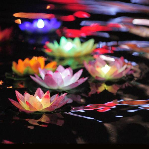 300PCS LED float light Artificial Lotus Colorful Changed Floating Flower Lamps Water Swimming Pool Wishing Light Lanterns