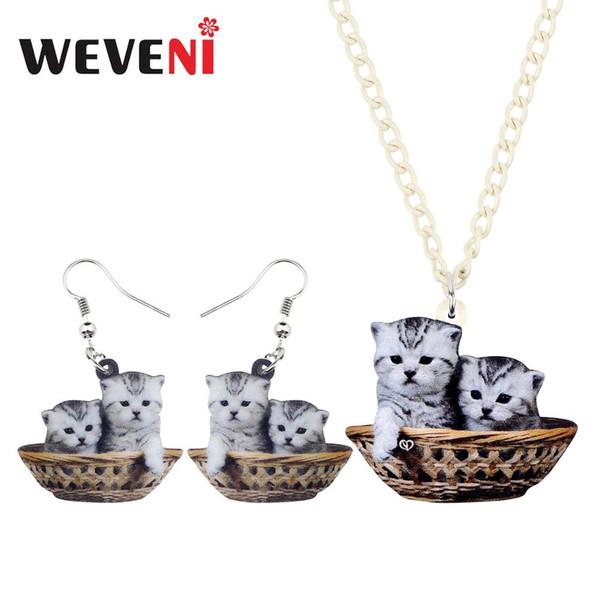 WEVENI Acrylic Cute Grey Double Kitten Cat Basket Necklace Earrings Jewelry Sets Kids Girls Women Pets Charms Gift Decorations