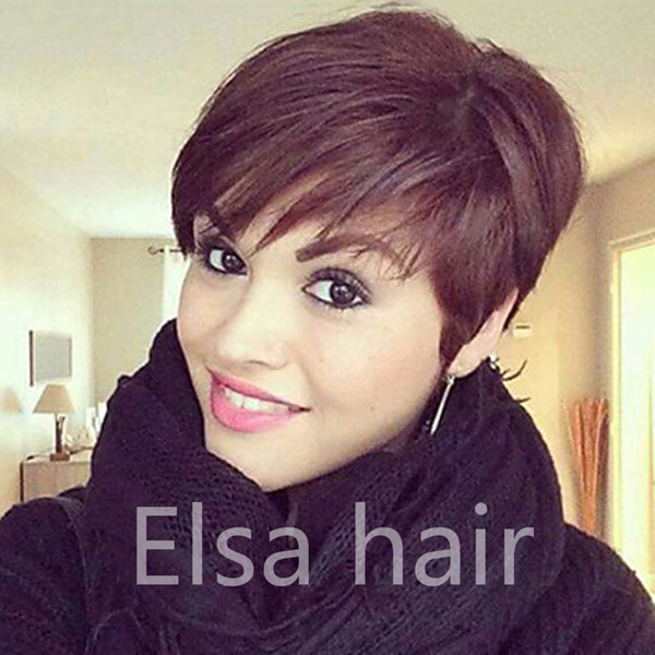 Celebrity Best Rihanna Hairstyle Human Hair Wig Straight Short Pixie Cut Wigs For Black Women Full Machine Made Non Lace Front Bob Hair Wigs Red Hair