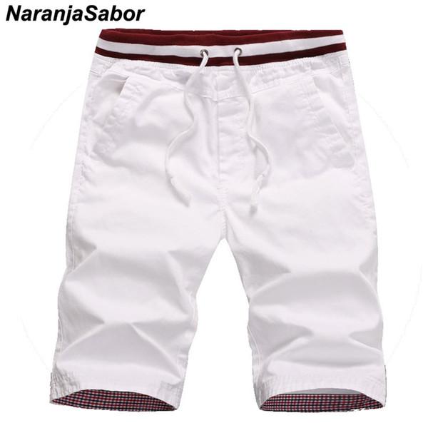 NaranjaSabor Men's Summer Shorts New Homme Beach Slim Fit Shorts Male Drawstring Pocket Elastic Joggers Men Short Trousers 4XL