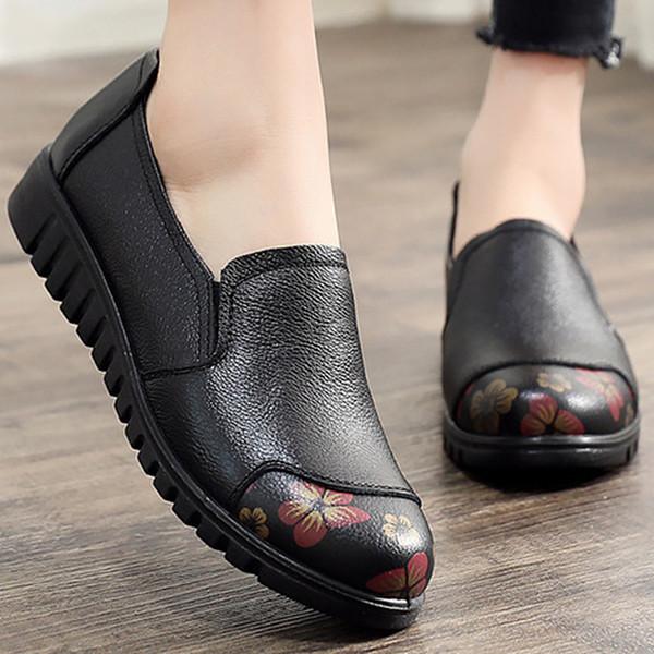 Scarpe da donna in vera pelle di grandi dimensioni 4,5-9 Scarpe piatte da scivolare Donne Smorzamento scarpe piatte antiscivolo 2019 Novità Y190704
