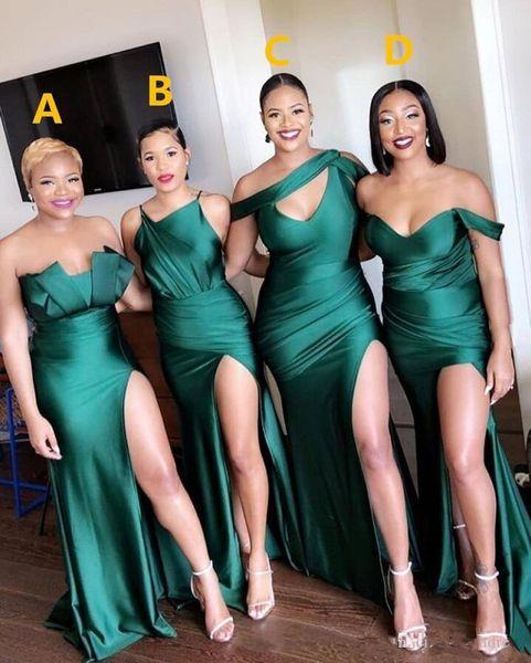 2020 nuovo sexy Turquoise Green Side Split damigella d'onore abiti lunghi damigella d'onore Vestito a sirena Invitato a un matrimonio abito da sera