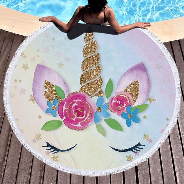 Unicorn Femmes Round Beach Throw Towel avec gland Microfibre Licorne Plage Couverture châle Épais Doux Cercle Serviettes De Bain Yoga Tapis De Pique-Nique 460g