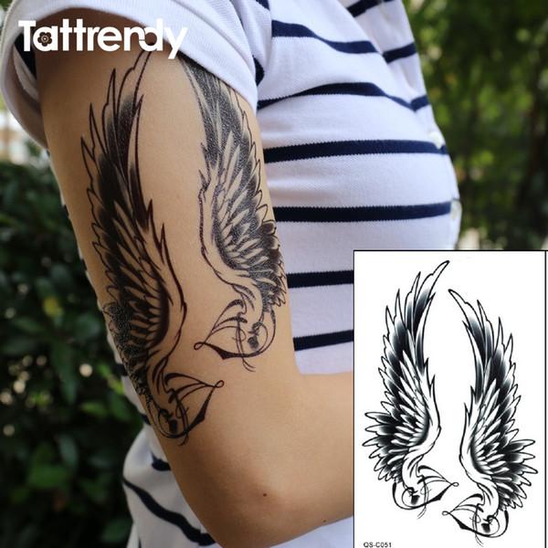 Tatoo De Anjos Flash Preto Tatuagem Mulheres à Prova D água Sexy Ombro Braço Asas De Anjo Falso Tatuagens Temporárias Adesivos Para Homens Na Pintura