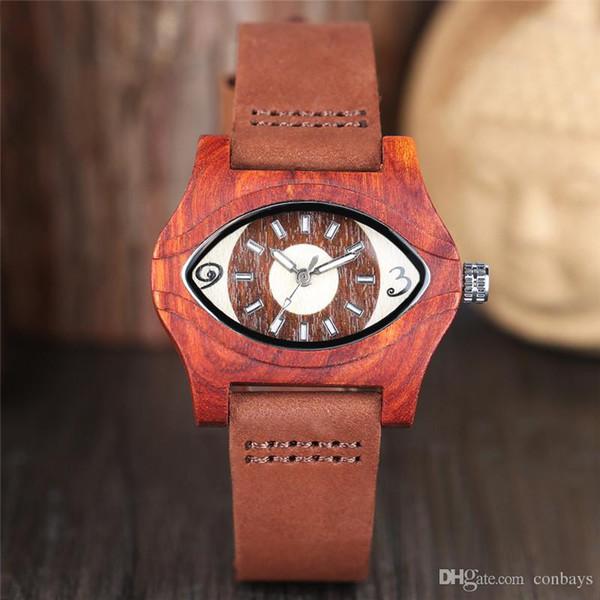 Unique Cool Turkish Evil Eye Red Wood Carving Watch Men Quartz Handmade Wristwatch for Man Natural Watches Saat Gift relojes masculinos