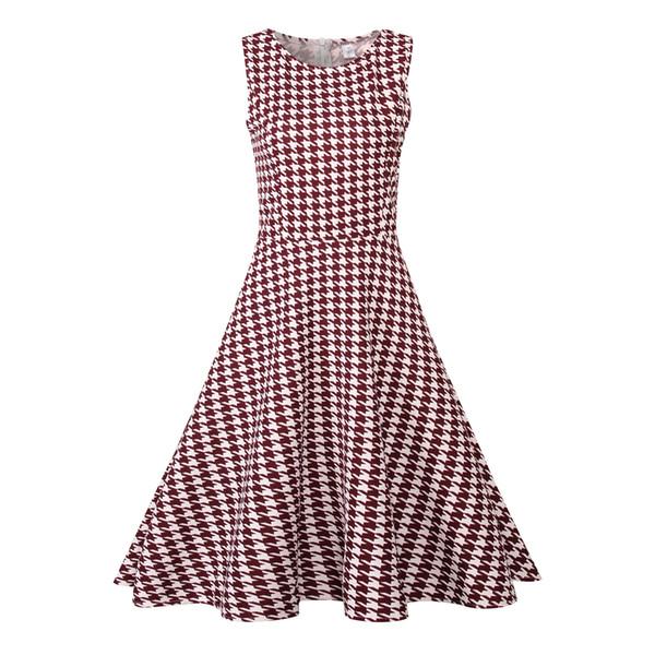 Vestido de verão mulheres retro floral impressão 50 s 60 s vintage dress houndstooth sem mangas elegante vestidos de festa vestido de verão plus size