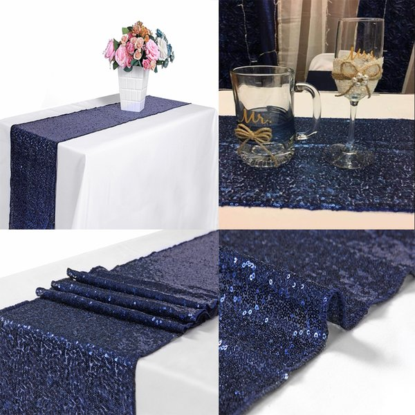 best selling 10pcs Navy Blue 12x72 Inch Sequin Table Runner Sequin Runner Wedding Party Dinner Reception, Bridal Wedding Runner,Christmas decorations