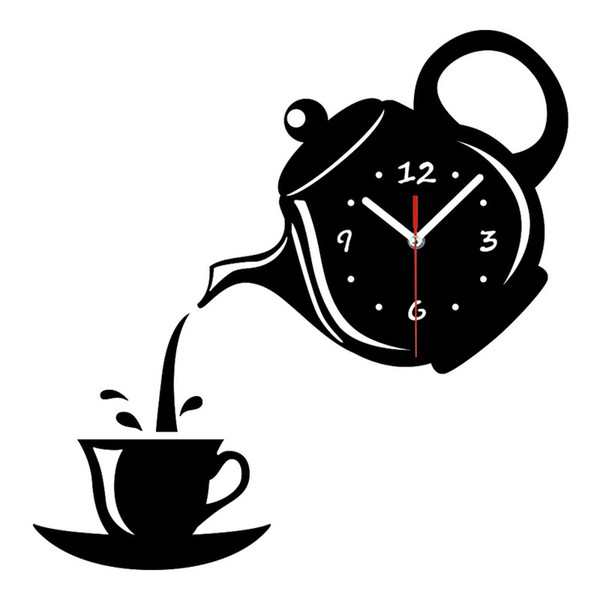 Botique-Creative Diy Acrylic Coffee Cup Teapot 3D Wall Clock Decorative Kitchen Wall Clocks Living Room Dining Room Home Decor