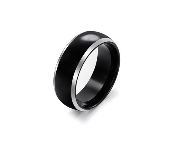 8mm Domed Mens Tungsten Wedding Ring Black Polished Silver Edge Wedding Band Engagement Ring
