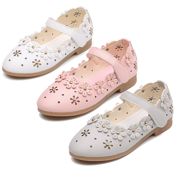 Flower Children Baby Little Kids Girls White Pink Grey Leather Shoes For Girls School Wedding Party Dress Shoes New 2019