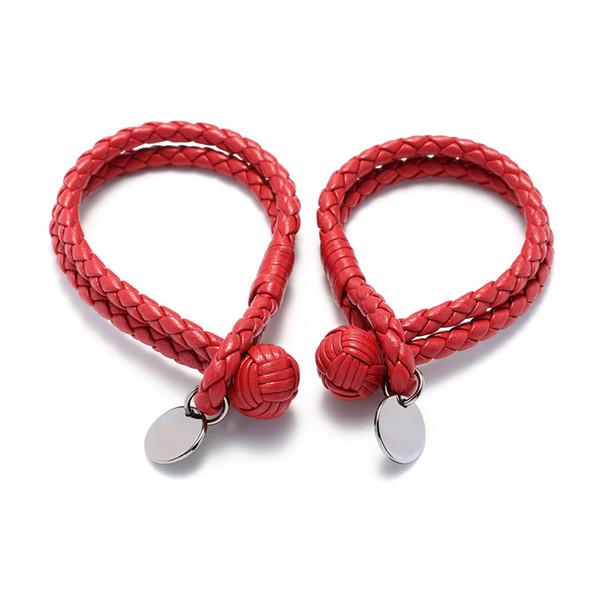 Fashion multi color imported lambskin bracelet round card woven spherical buckle bangle men and women couples bracelet rope bracelet K3689