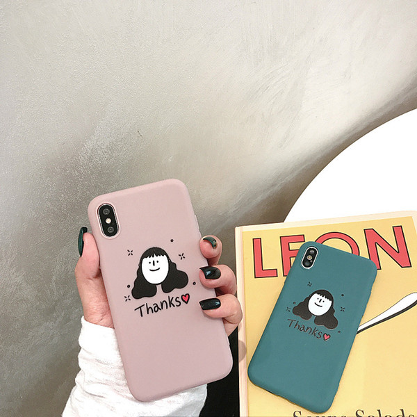 Korean Style Cartoon Phone Cases Cute Illustration For Iphone Xs Max Thick TPU Matte Cell Phone Case For Iphone 6 7 8 Plus
